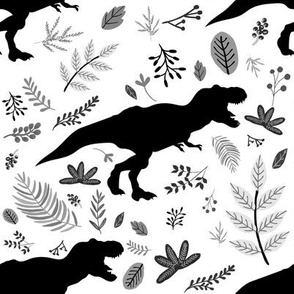 """8"""" Dino and Leaves Black and white"""