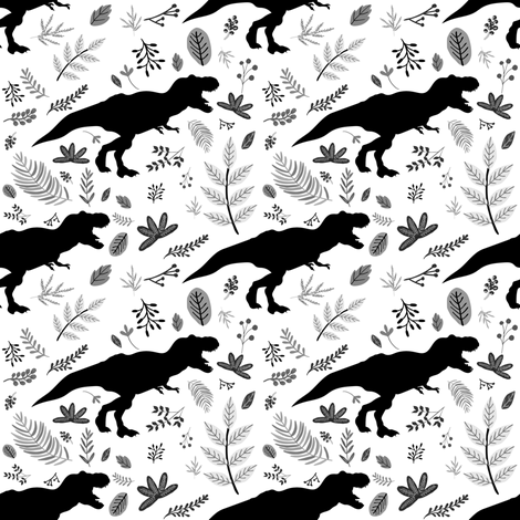 "4"" Dino and Leaves Black and white fabric by shopcabin on Spoonflower - custom fabric"