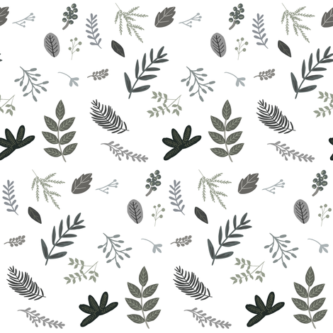 "4"" Grey Leaves and branches fabric by shopcabin on Spoonflower - custom fabric"