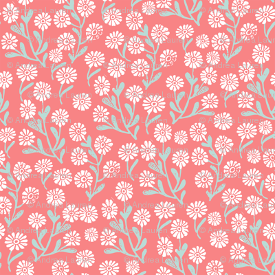 daisy // cute floral flower fabric perfect nursery bedding coral