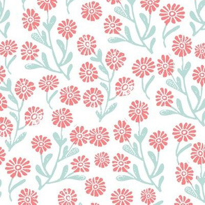 daisy // cute floral flower fabric perfect nursery bedding white coral