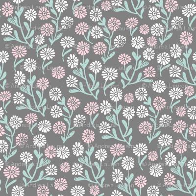 daisy // cute floral flower fabric perfect nursery bedding grey
