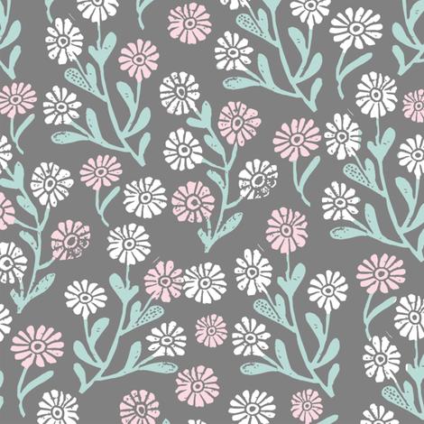 daisy // cute floral flower fabric perfect nursery bedding grey fabric by andrea_lauren on Spoonflower - custom fabric