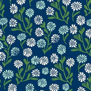 daisy // cute floral flower fabric perfect nursery bedding navy