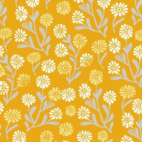 daisy // cute floral flower fabric perfect nursery bedding mustard