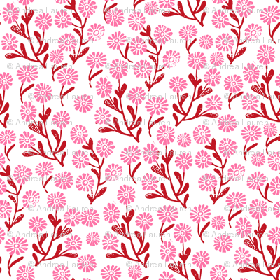 daisy // cute floral flower fabric perfect nursery bedding red and pink