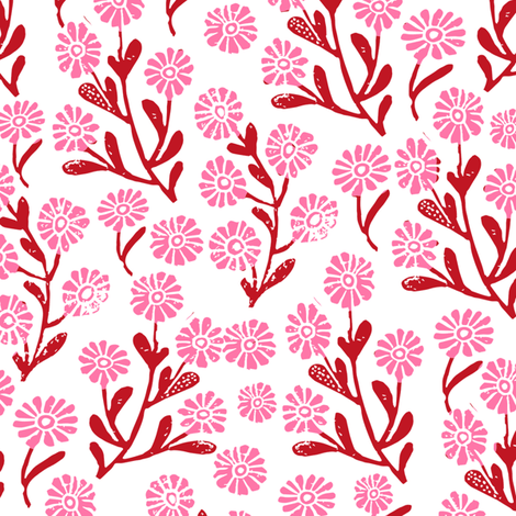 daisy // cute floral flower fabric perfect nursery bedding red and pink fabric by andrea_lauren on Spoonflower - custom fabric