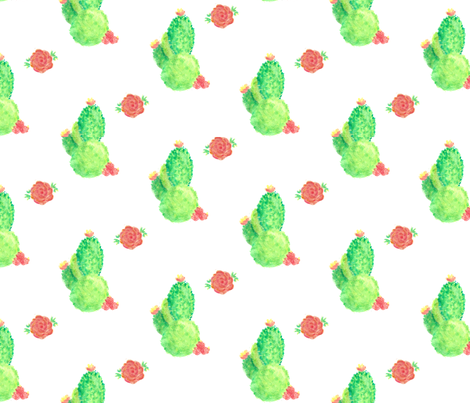 Cacti and Roses fabric by jessicamariefrancis on Spoonflower - custom fabric
