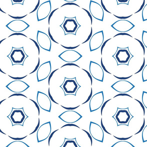Blue and White Circles and petals