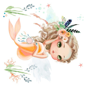 """21""""x18"""" Peach Mermaid / NO QUOTE"""