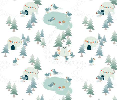 Puffin Life fabric by jennifer_todd on Spoonflower - custom fabric