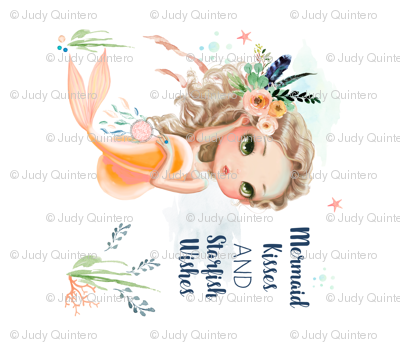 """21""""x18"""" Peach Mermaid"""