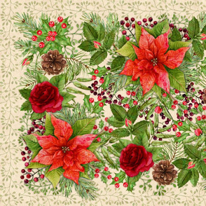 Tea Towel - Poinsettia Floral