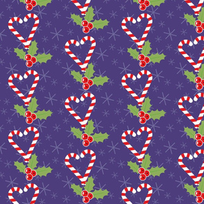 Romantic pattern with candy canes and mistletoe