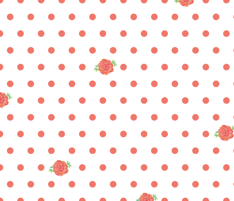 rose_polka_dots_pink-white fabric by jessicamariefrancis on Spoonflower - custom fabric
