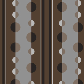 Modern Stripes and Circles in Brown