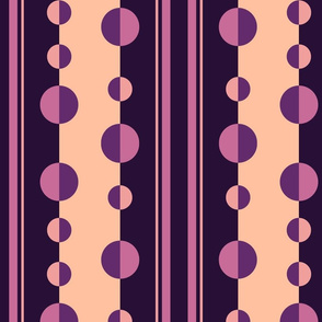 Modern Stripes and Circles in Purple and Peach
