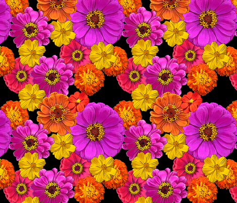 Colorful Flowers on Black fabric by mel_fischer on Spoonflower - custom fabric