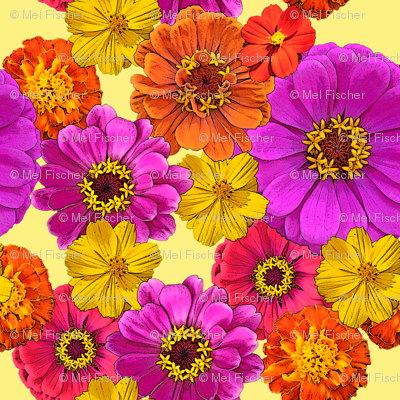 Bright Flowers on Yellow