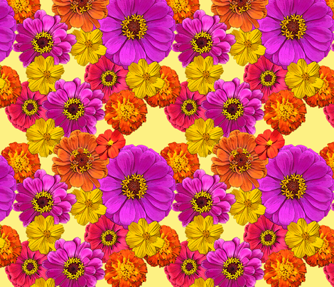 Bright Flowers on Yellow fabric by mel_fischer on Spoonflower - custom fabric