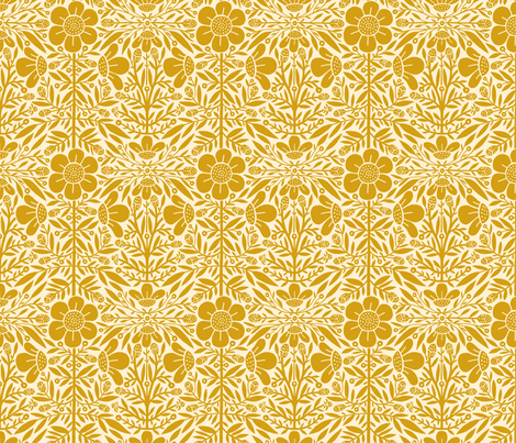 Folk Floral 01 | Mustard fabric by caitlinkeegan on Spoonflower - custom fabric
