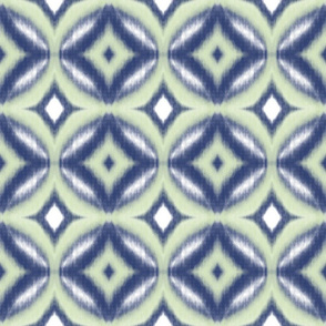 Ikat pattern of circles and diamonds in navy, mint green
