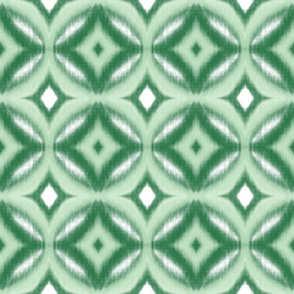 Ikat Circles and Diamonds in Greens