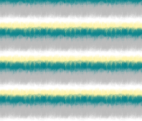 Ikat Stripes in Teal, Yellow and Gray fabric by mel_fischer on Spoonflower - custom fabric