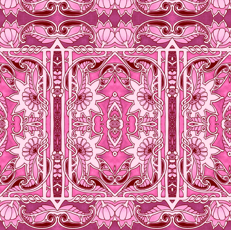 Pink Posy Panels fabric by edsel2084 on Spoonflower - custom fabric