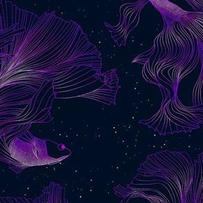 Deep purple fish in space