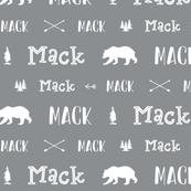 Woodland Boy Personalized Name // Boys Nursery Custom Gift Idea // Gray and White - Mack