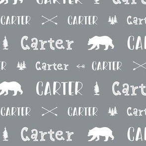 Woodland Boy Personalized Name // Boys Nursery Custom Gift Idea // Gray and White - Carter