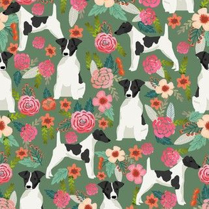 smooth fox terrier black and white coat floral fabric green