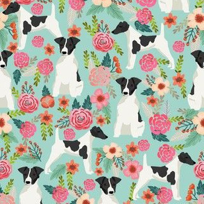 smooth fox terrier black and white coat floral fabric mint