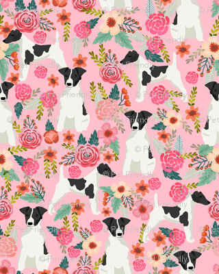 smooth fox terrier black and white coat floral fabric pink
