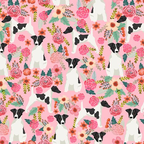 smooth fox terrier black and white coat floral fabric pink fabric by petfriendly on Spoonflower - custom fabric