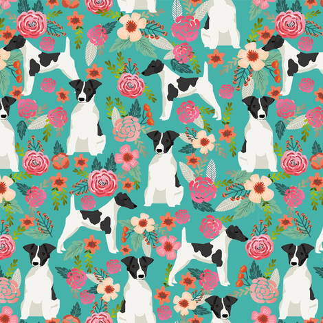 smooth fox terrier black and white coat floral fabric turquoise fabric by petfriendly on Spoonflower - custom fabric