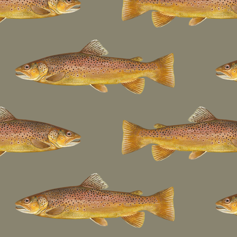 brown trout on pewter grey fabric by weavingmajor on Spoonflower - custom fabric