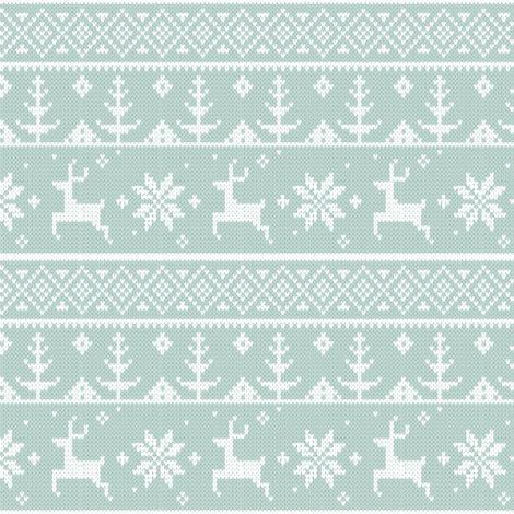 Fair Isle Deer - Pale fabric by happyhappymeowmeow on Spoonflower - custom fabric