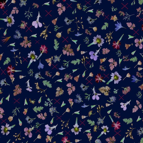 tiny flowers on navy