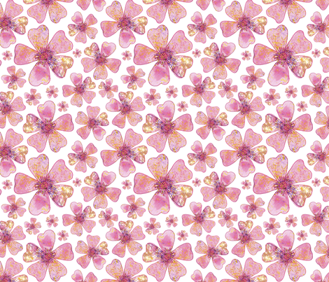 Pink Dog Rose Repeat fabric by lesley_fitzpatrick on Spoonflower - custom fabric