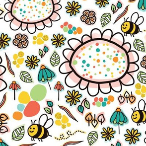 Doodle bees and flowers