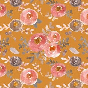 Modern Moody Fall Floral Pink Gray on  Dark Mustard