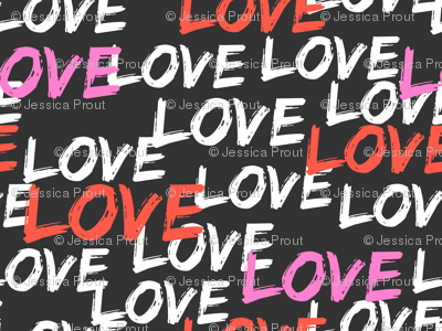 Love - multi - pink and red on grey