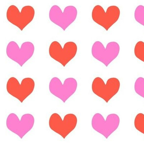 hearts - red and bold pink