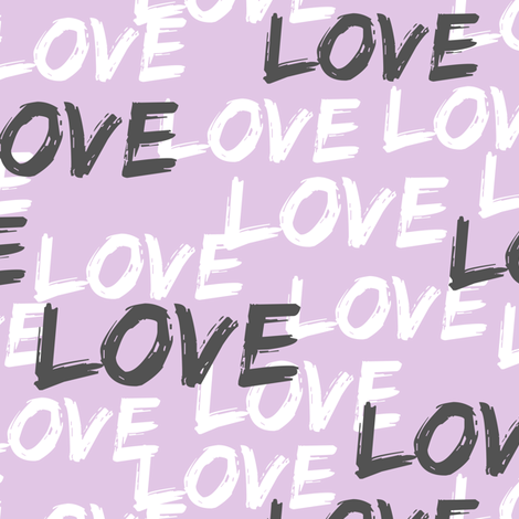 Love - multi on purple fabric by littlearrowdesign on Spoonflower - custom fabric