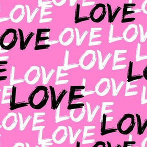 Love - multi on bold pink