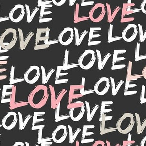 Love - multi pink and tan on grey
