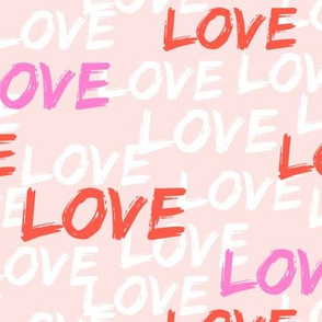 Love - multi - pink and red on pale pink