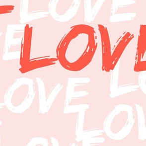 (Jumbo scale) love (multi on pale pink)